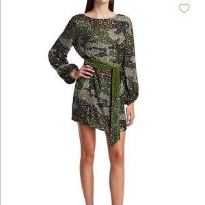 Retrofete Grace camo sequin mini long sleeve dress